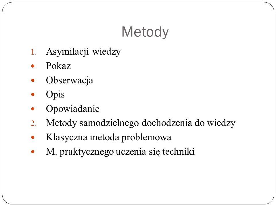 Metody 1. Asymilacji wiedzy Pokaz Obserwacja Opis Opowiadanie 2. Metody samodzielnego dochodzenia do wiedzy Klasyczna metoda problemowa M. praktyczneg