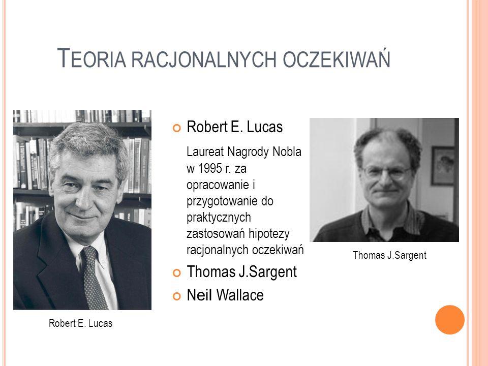 T EORIA RACJONALNYCH OCZEKIWAŃ Robert E. Lucas Laureat Nagrody Nobla w 1995 r. za opracowanie i przygotowanie do praktycznych zastosowań hipotezy racj