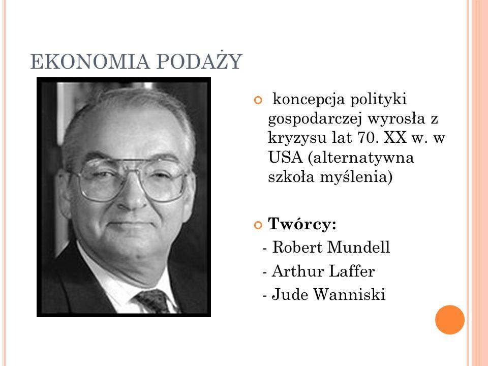 EKONOMIA PODAŻY koncepcja polityki gospodarczej wyrosła z kryzysu lat 70. XX w. w USA (alternatywna szkoła myślenia) Twórcy: - Robert Mundell - Arthur