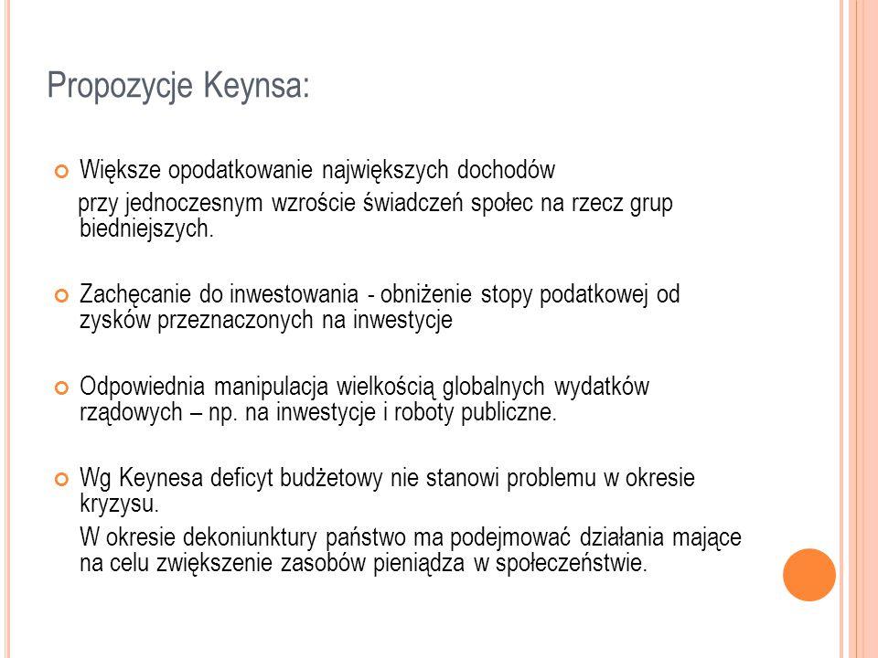 Propozycje Keynsa: Większe opodatkowanie największych dochodów przy jednoczesnym wzroście świadczeń społec na rzecz grup biedniejszych. Zachęcanie do