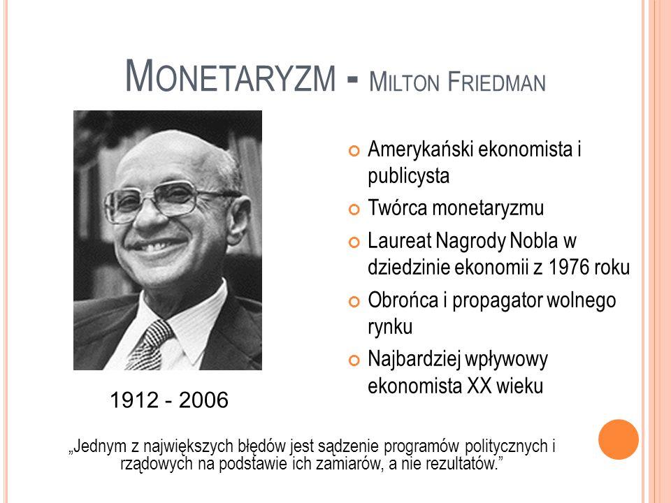 Przyczyny powstania: Nieskuteczność teorii keynesizmu dotyczących wydarzeń w gospodarce światowej w latach 70-tych (wzrostu inflacji i spowolnienia wzrostu gospodarczego) Założenia teorii: Teoria analizy zmian długookresowych Gospodarka ze swej natury jest stabilna, w długim okresie sama dąży do równowagi na rynkach Dominującą formą własności powinien być sektor prywatny Zakres ingerencji państwa powinien być jak najmniejszy Głównym problemem, z którym borykają się gospodarki jest inflacja, wywołana nadmierną ilością pieniądza w obiegu W długim okresie brak jest substytucji między inflacją a bezrobociem