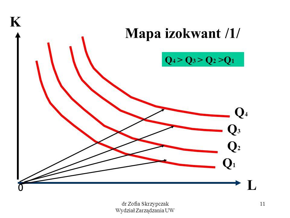 dr Zofia Skrzypczak Wydział Zarządzania UW 11 Mapa izokwant /1/ 0 L Q3Q3 Q1 Q1 Q4Q4 K Q2Q2 Q 4 > Q 3 > Q 2 >Q 1