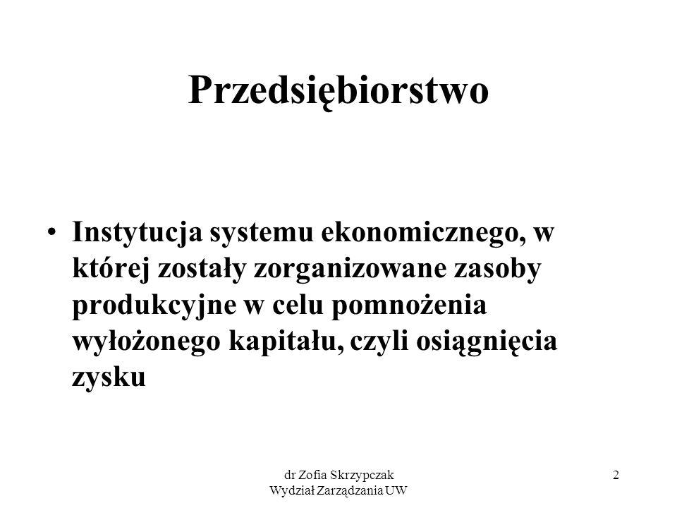 dr Zofia Skrzypczak Wydział Zarządzania UW 2 Przedsiębiorstwo Instytucja systemu ekonomicznego, w której zostały zorganizowane zasoby produkcyjne w ce