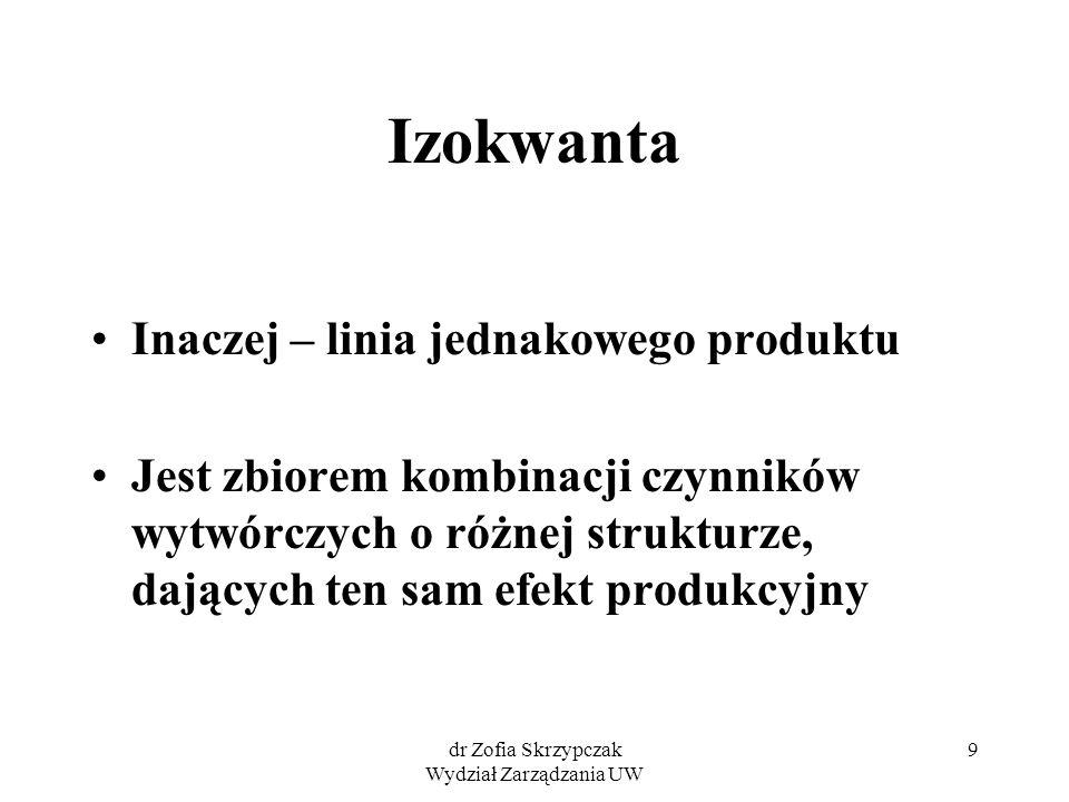 dr Zofia Skrzypczak Wydział Zarządzania UW 9 Izokwanta Inaczej – linia jednakowego produktu Jest zbiorem kombinacji czynników wytwórczych o różnej str