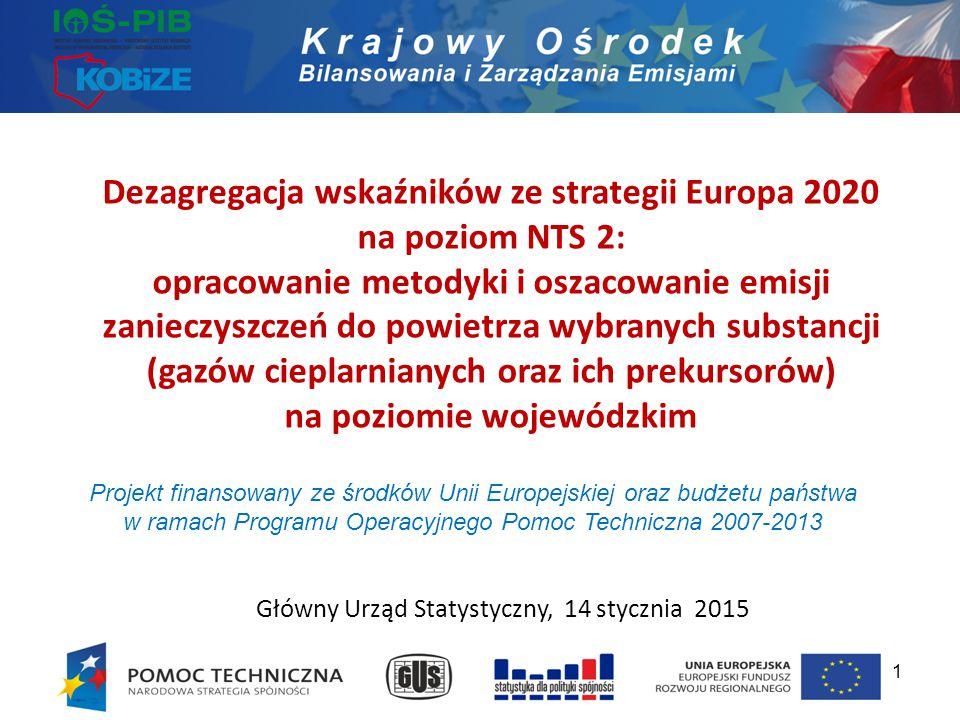 Dezagregacja wskaźników ze strategii Europa 2020 na poziom NTS 2: opracowanie metodyki i oszacowanie emisji zanieczyszczeń do powietrza wybranych subs
