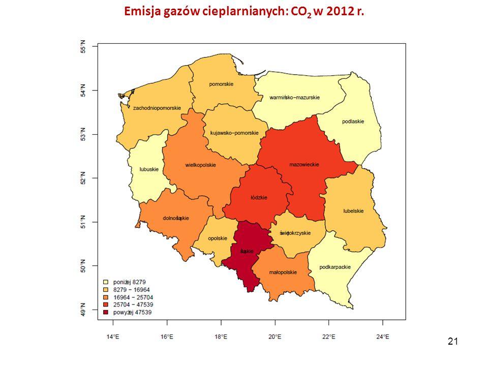 Emisja gazów cieplarnianych: CO 2 w 2012 r. 21