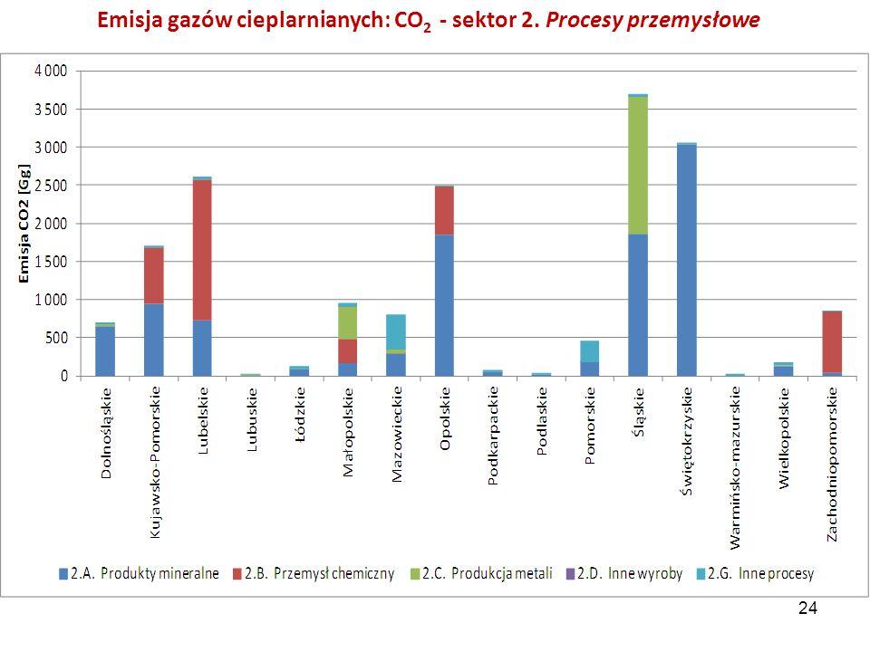 Emisja gazów cieplarnianych: CO 2 - sektor 2. Procesy przemysłowe 24