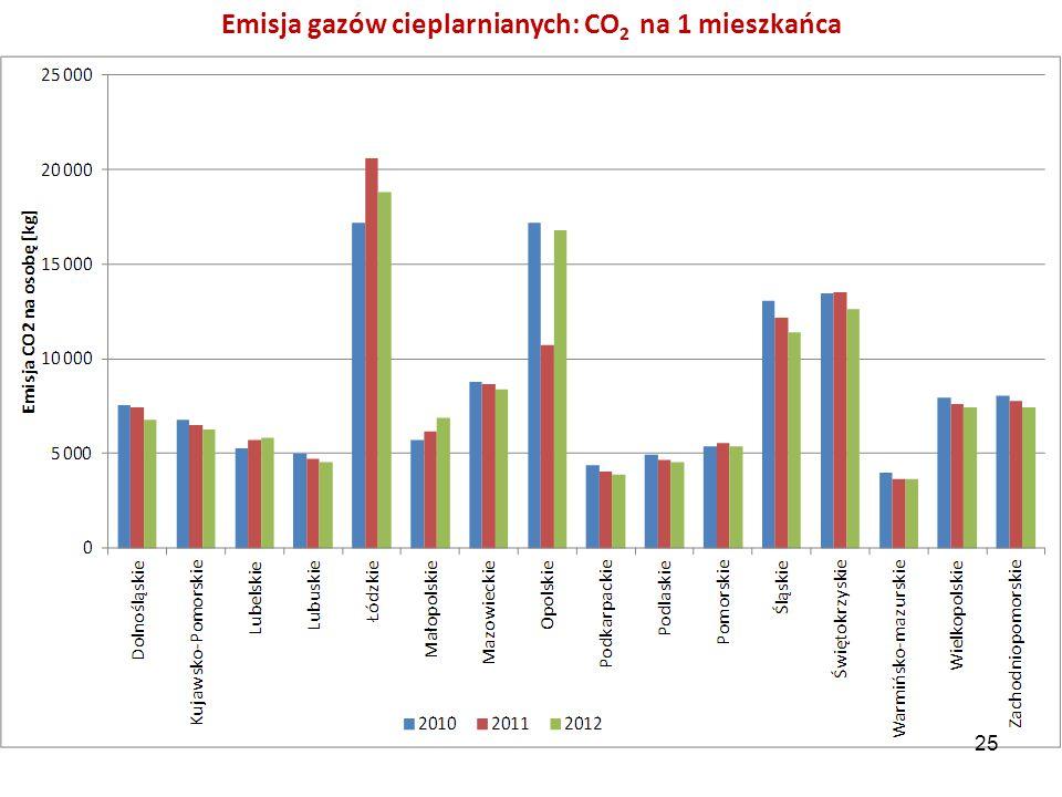 Emisja gazów cieplarnianych: CO 2 na 1 mieszkańca 25