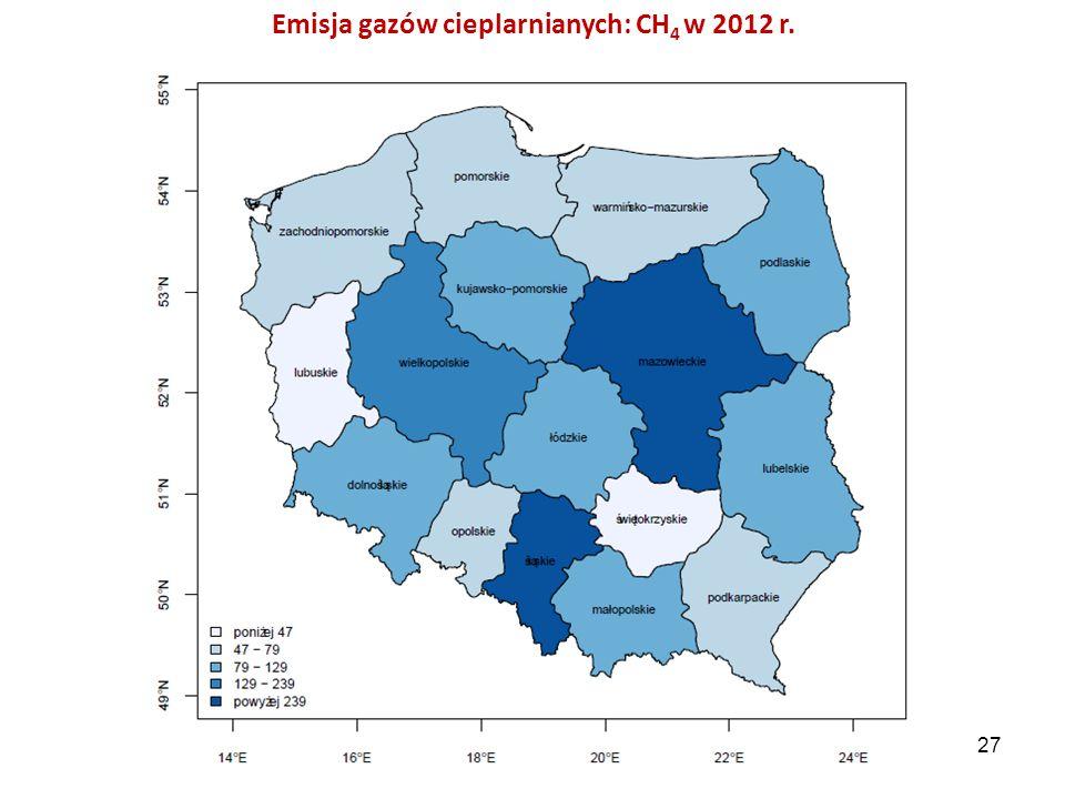 Emisja gazów cieplarnianych: CH 4 w 2012 r. 27