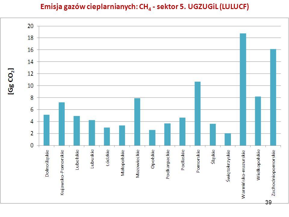 Emisja gazów cieplarnianych: CH 4 - sektor 5. UGZUGiL (LULUCF) 39
