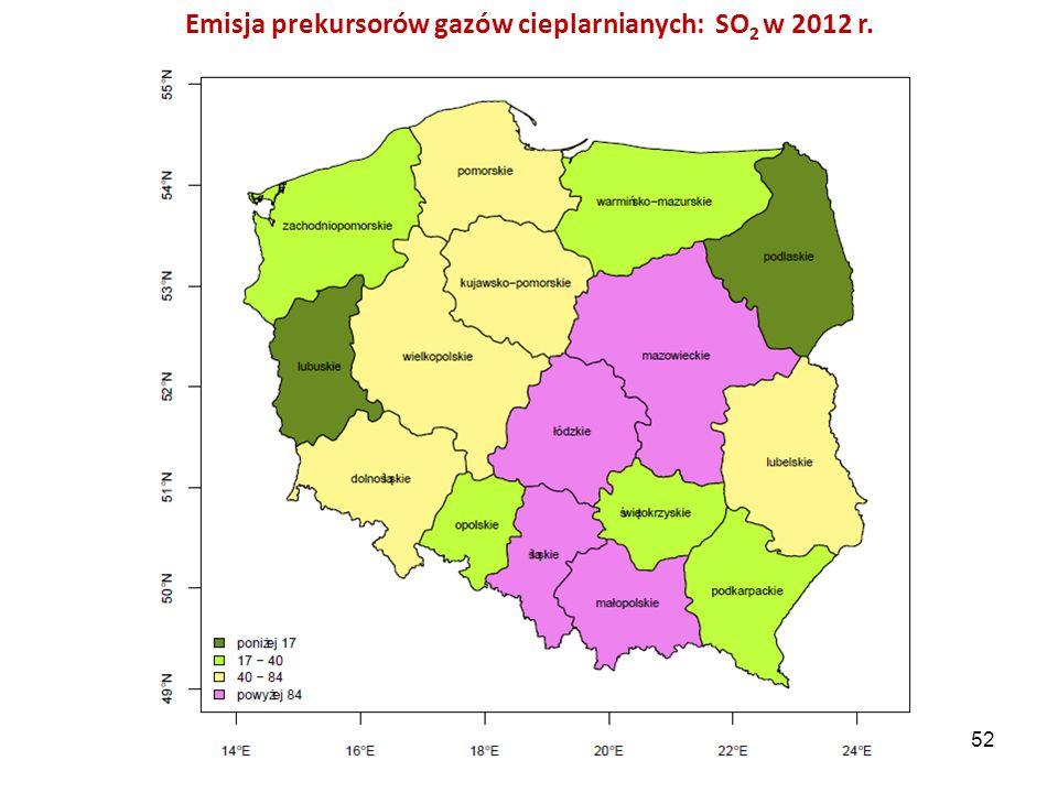 Emisja prekursorów gazów cieplarnianych: SO 2 w 2012 r. 52