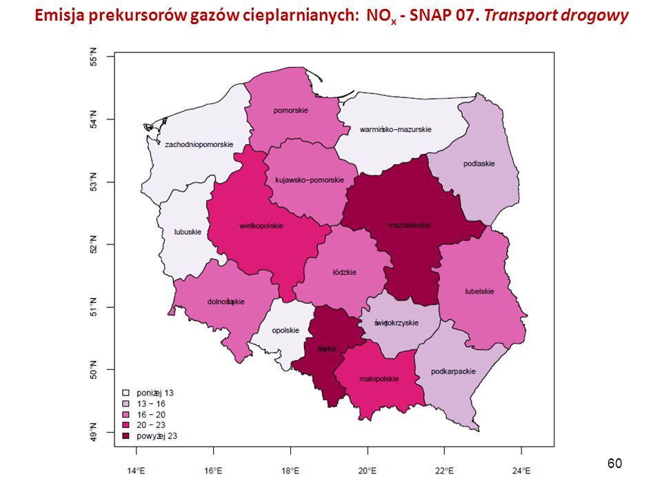 Emisja prekursorów gazów cieplarnianych: NO x - SNAP 07. Transport drogowy 60