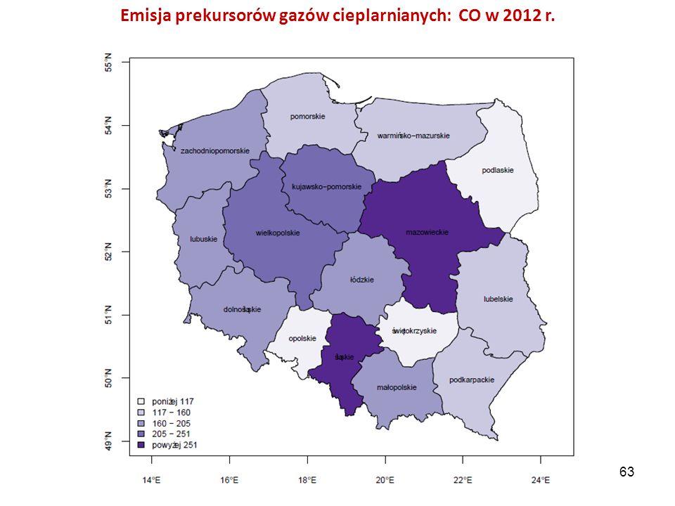 Emisja prekursorów gazów cieplarnianych: CO w 2012 r. 63