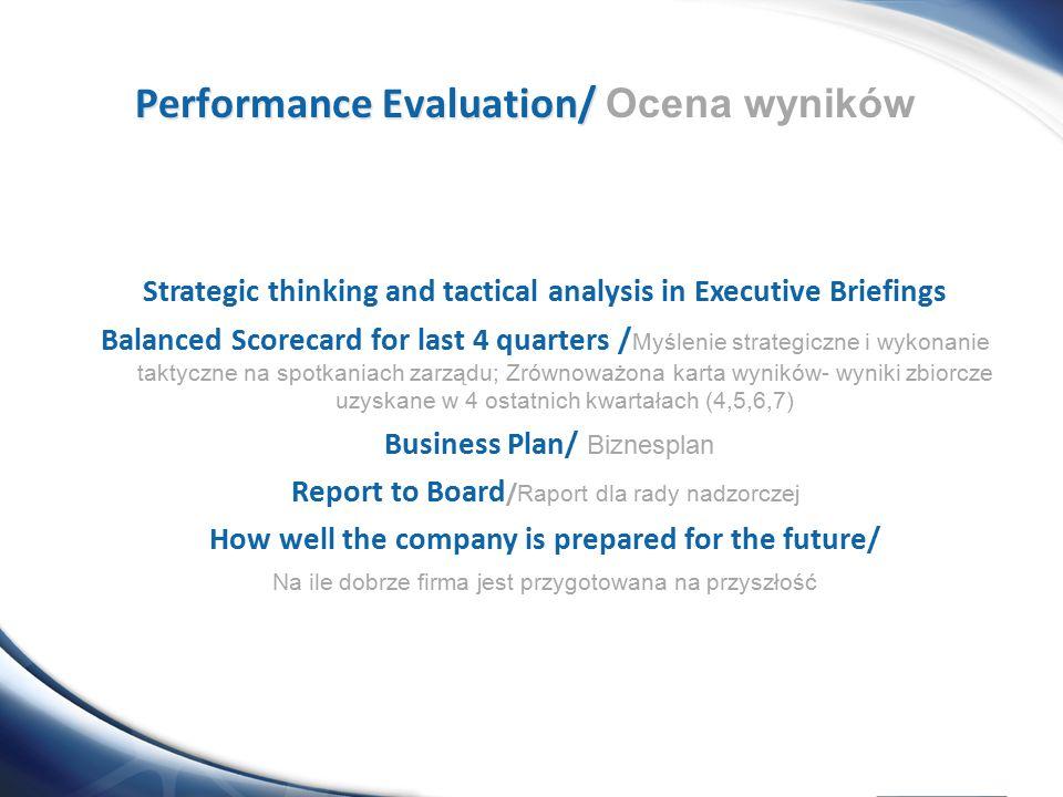 Strategic thinking and tactical analysis in Executive Briefings Balanced Scorecard for last 4 quarters / Myślenie strategiczne i wykonanie taktyczne n