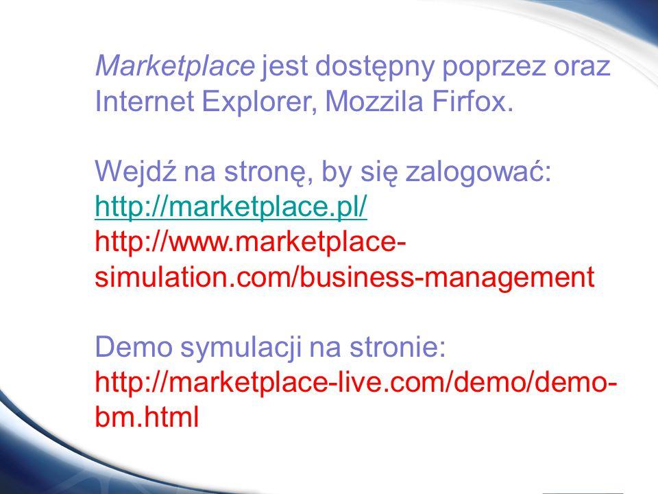 Marketplace jest dostępny poprzez oraz Internet Explorer, Mozzila Firfox. Wejdź na stronę, by się zalogować: http://marketplace.pl/ http://www.marketp
