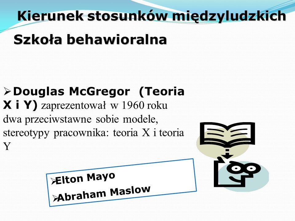  Douglas McGregor (Teoria X i Y) zaprezentował w 1960 roku dwa przeciwstawne sobie modele, stereotypy pracownika: teoria X i teoria Y Kierunek stosunków międzyludzkich Szkoła behawioralna  Elton Mayo  Abraham Maslow