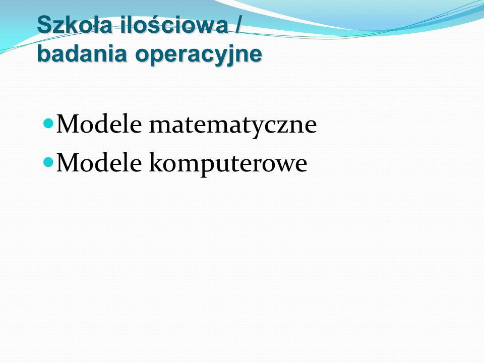 Szkoła ilościowa / badania operacyjne Modele matematyczne Modele komputerowe