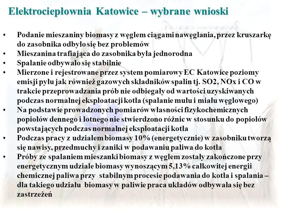 Elektrociepłownia Katowice – wybrane wnioski Podanie mieszaniny biomasy z węglem ciągami nawęglania, przez kruszarkę do zasobnika odbyło się bez probl