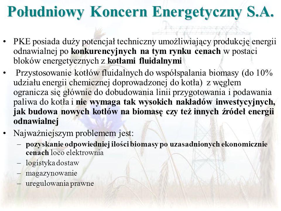 Idea współspalania biomasy z paliwem podstawowym w istniejących kotłach fluidalnych Energia chemiczna doprowadzona do kotła STRUMIEŃ ENERGII W PALIWIE PODSTAWOWYM 90% energii doprowadzonej STRUMIEŃ ENERGII ODNAWIALNEJ Udział biomasy 10% energii doprowadzonej
