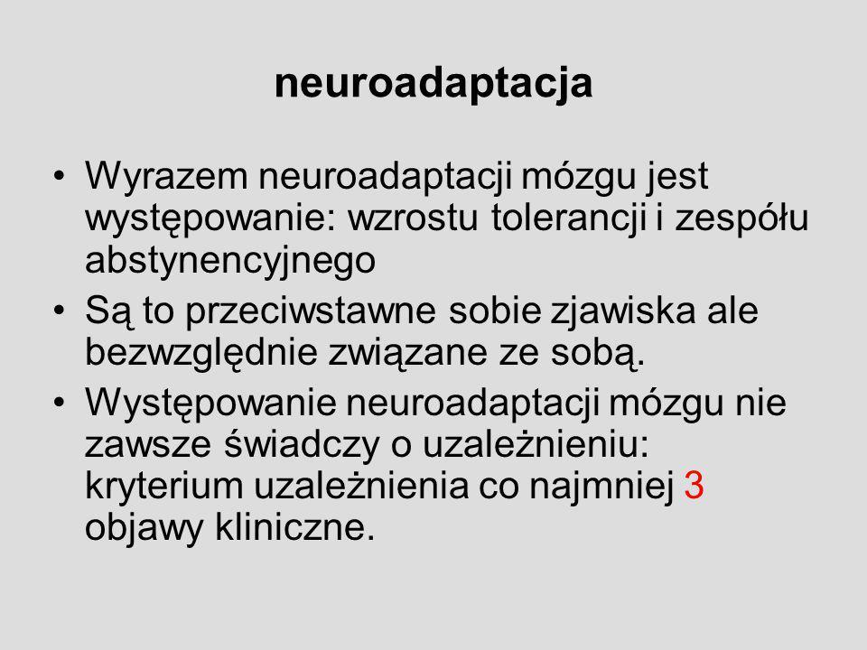 neuroadaptacja Wyrazem neuroadaptacji mózgu jest występowanie: wzrostu tolerancji i zespółu abstynencyjnego Są to przeciwstawne sobie zjawiska ale bez