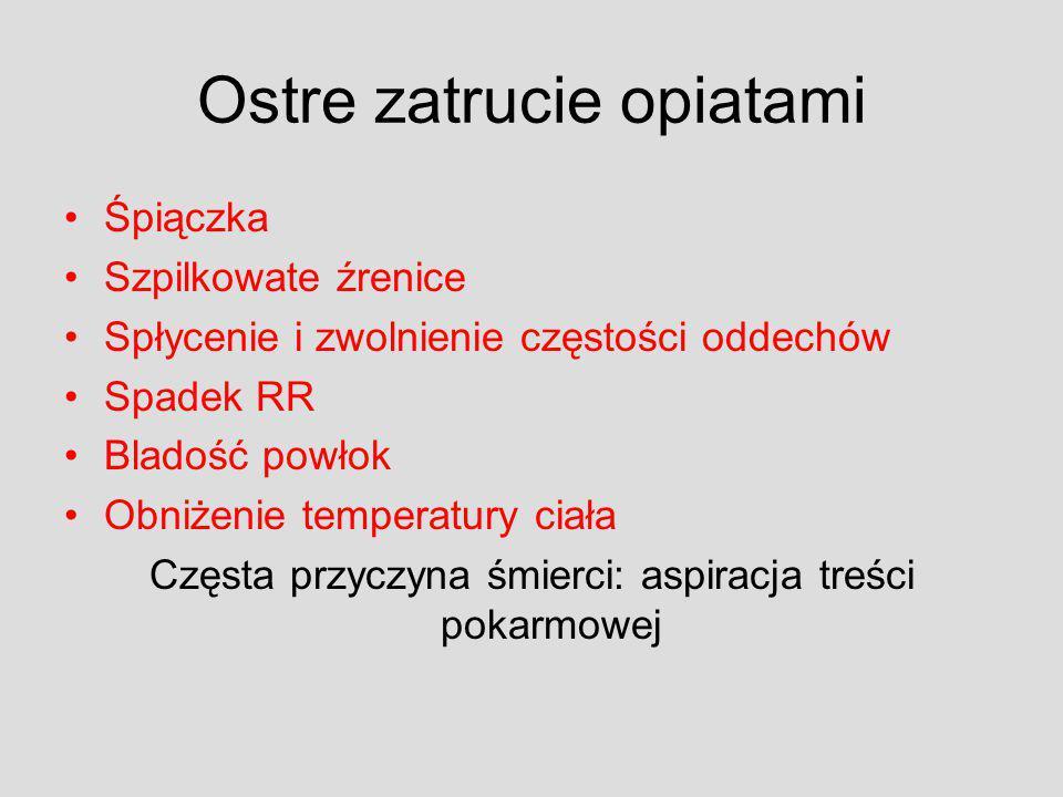 Ostre zatrucie opiatami Śpiączka Szpilkowate źrenice Spłycenie i zwolnienie częstości oddechów Spadek RR Bladość powłok Obniżenie temperatury ciała Cz
