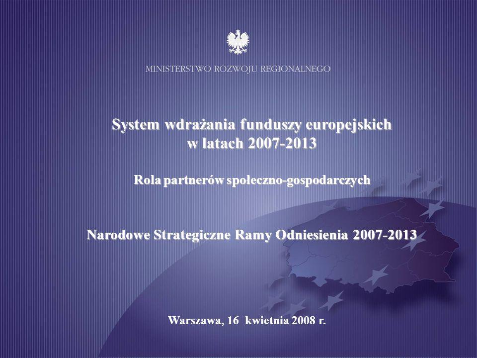 Cele Narodowej Strategii Spójności / Narodowych Strategicznych Ram Odniesienia Cel strategiczny Tworzenie warunków dla wzrostu konkurencyjności gospodarki opartej na wiedzy i przedsiębiorczości zapewniającej wzrost zatrudnienia oraz wzrost poziomu spójności społecznej, gospodarczej i przestrzennej.