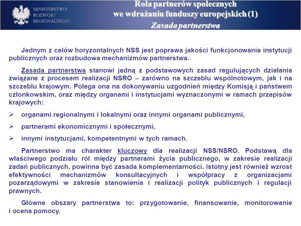 Rola partnerów społecznych we wdrażaniu funduszy europejskich (2) Zasada partnerstwa Przedstawiciele partnerów społeczno-ekonomicznych:  Organizacje pracowników i organizacje pracodawców,  Organizacje pozarządowe (przedstawiciele wyznaczeni przez Radę Działalności Pożytku Publicznego),  Środowisko naukowe (przedstawiciele wyznaczeni przez Radę Główną Szkolnictwa Wyższego).