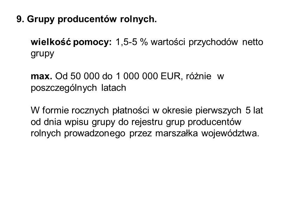 9. Grupy producentów rolnych. wielkość pomocy: 1,5-5 % wartości przychodów netto grupy max.