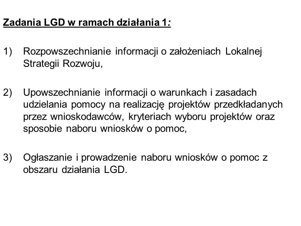 Zadania LGD w ramach działania 1: 1)Rozpowszechnianie informacji o założeniach Lokalnej Strategii Rozwoju, 2)Upowszechnianie informacji o warunkach i zasadach udzielania pomocy na realizację projektów przedkładanych przez wnioskodawców, kryteriach wyboru projektów oraz sposobie naboru wniosków o pomoc, 3)Ogłaszanie i prowadzenie naboru wniosków o pomoc z obszaru działania LGD.