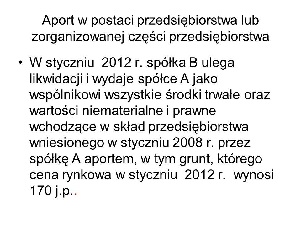 Aport w postaci przedsiębiorstwa lub zorganizowanej części przedsiębiorstwa W styczniu 2012 r. spółka B ulega likwidacji i wydaje spółce A jako wspóln