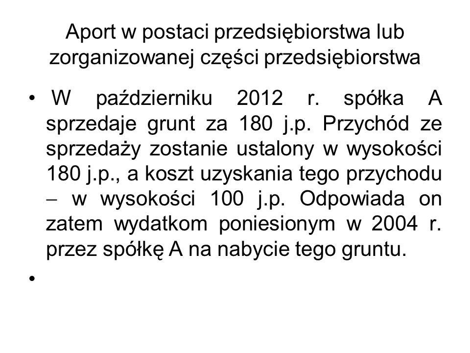 Aport w postaci przedsiębiorstwa lub zorganizowanej części przedsiębiorstwa W październiku 2012 r. spółka A sprzedaje grunt za 180 j.p. Przychód ze sp