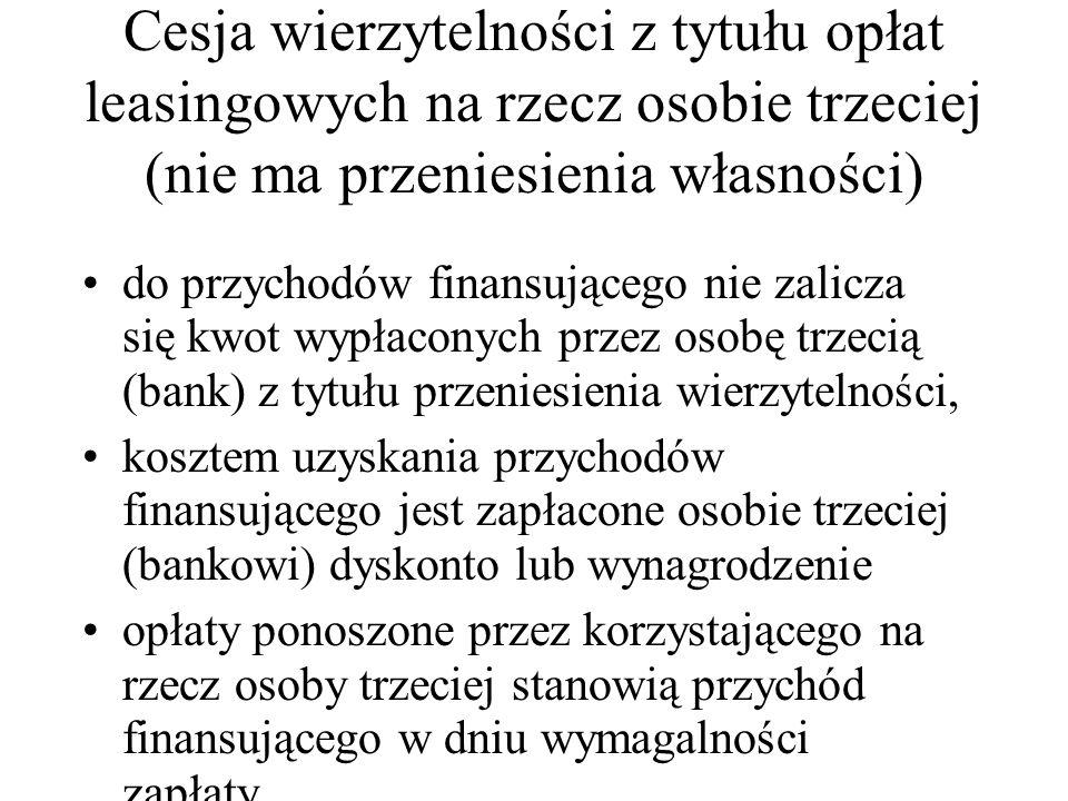 Cesja wierzytelności z tytułu opłat leasingowych na rzecz osobie trzeciej (nie ma przeniesienia własności) do przychodów finansującego nie zalicza się