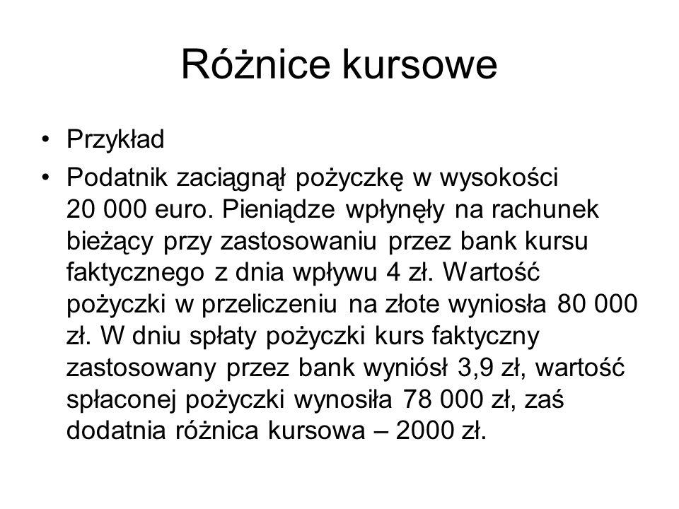 Różnice kursowe Przykład Podatnik zaciągnął pożyczkę w wysokości 20 000 euro. Pieniądze wpłynęły na rachunek bieżący przy zastosowaniu przez bank kurs