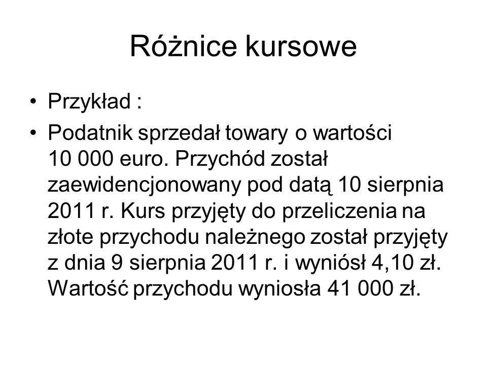 Różnice kursowe Przykład : Podatnik sprzedał towary o wartości 10 000 euro. Przychód został zaewidencjonowany pod datą 10 sierpnia 2011 r. Kurs przyję