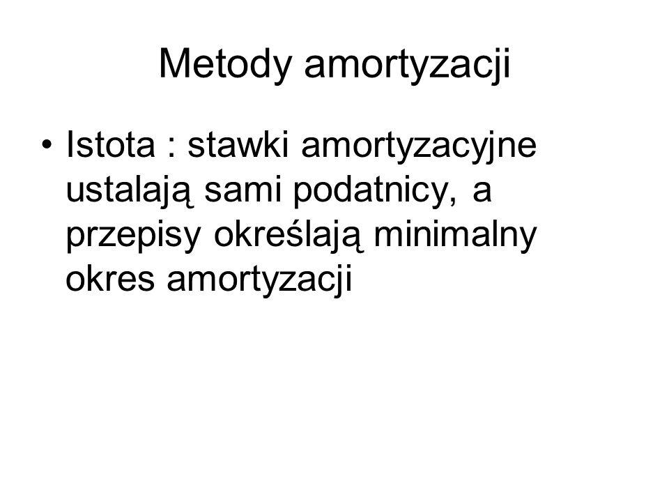 Metody amortyzacji Istota : stawki amortyzacyjne ustalają sami podatnicy, a przepisy określają minimalny okres amortyzacji