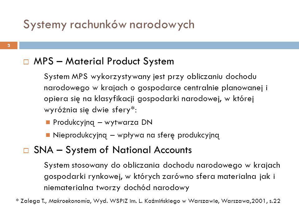 Systemy rachunków narodowych 3  MPS – Material Product System System MPS wykorzystywany jest przy obliczaniu dochodu narodowego w krajach o gospodarc