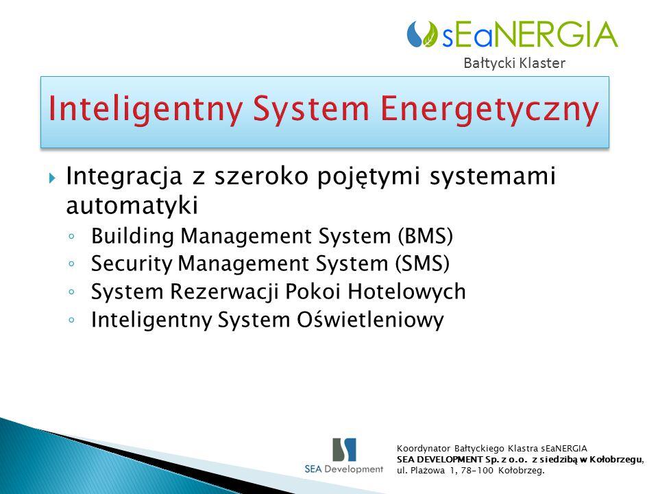  Integracja z szeroko pojętymi systemami automatyki ◦ Building Management System (BMS) ◦ Security Management System (SMS) ◦ System Rezerwacji Pokoi Hotelowych ◦ Inteligentny System Oświetleniowy Bałtycki Klaster Koordynator Bałtyckiego Klastra sEaNERGIA SEA DEVELOPMENT Sp.