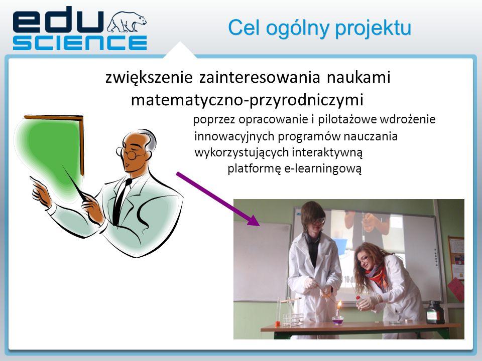 Cel ogólny projektu zwiększenie zainteresowania naukami matematyczno-przyrodniczymi poprzez opracowanie i pilotażowe wdrożenie innowacyjnych programów nauczania wykorzystujących interaktywną platformę e-learningową