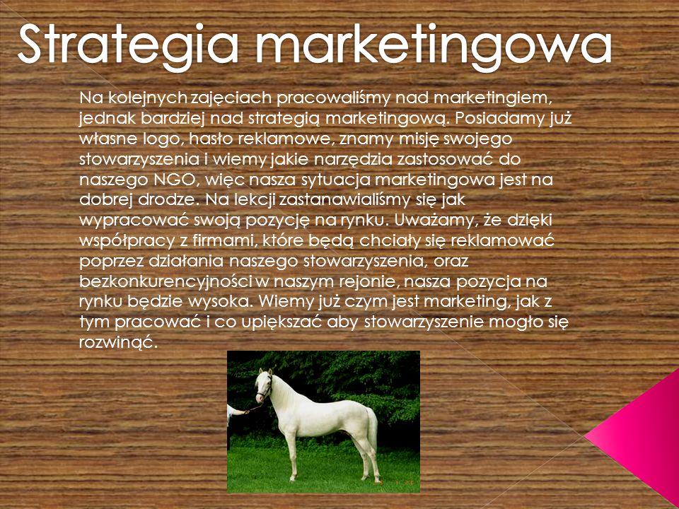 Na kolejnych zajęciach pracowaliśmy nad marketingiem, jednak bardziej nad strategią marketingową.