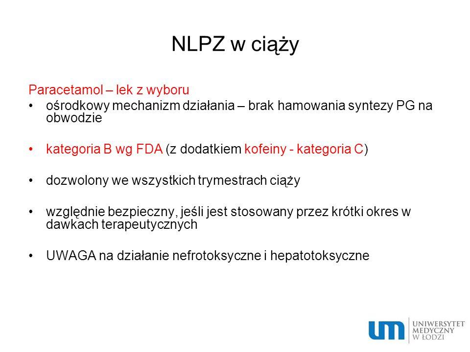 NLPZ w ciąży Paracetamol – lek z wyboru ośrodkowy mechanizm działania – brak hamowania syntezy PG na obwodzie kategoria B wg FDA (z dodatkiem kofeiny