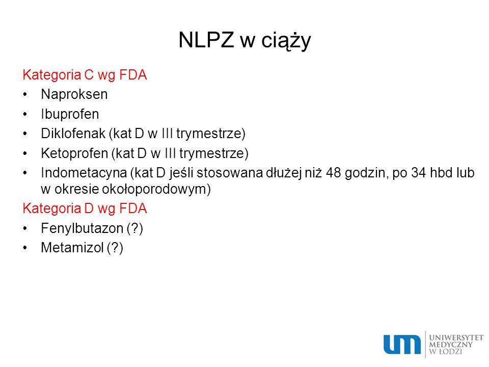 NLPZ w ciąży Kategoria C wg FDA Naproksen Ibuprofen Diklofenak (kat D w III trymestrze) Ketoprofen (kat D w III trymestrze) Indometacyna (kat D jeśli