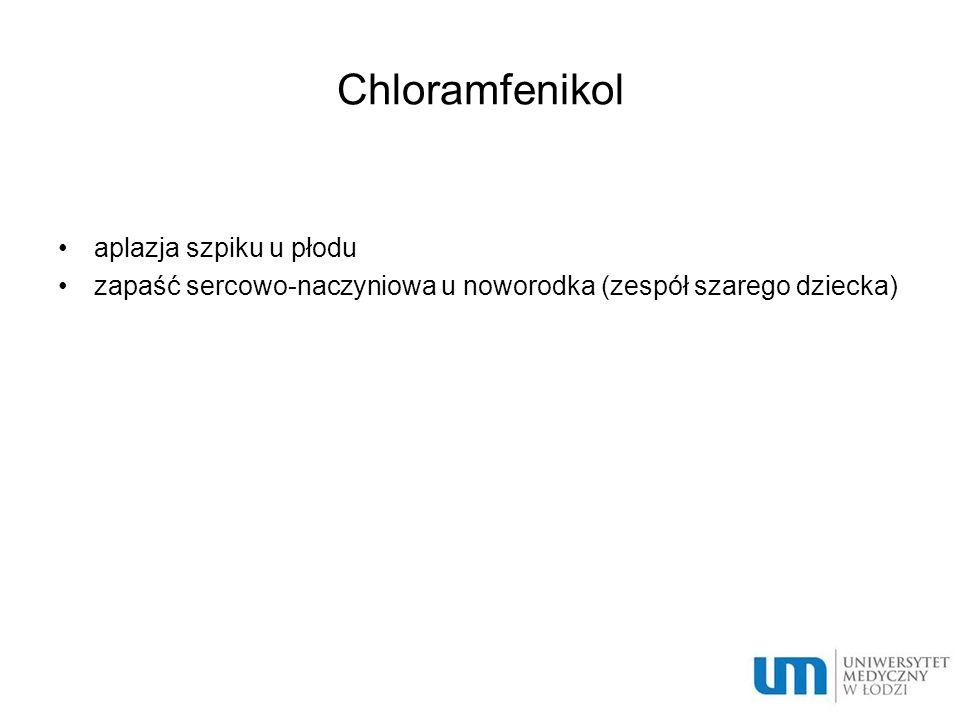 Chloramfenikol aplazja szpiku u płodu zapaść sercowo-naczyniowa u noworodka (zespół szarego dziecka)