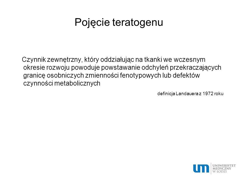 Pojęcie teratogenu Czynnik zewnętrzny, który oddziałując na tkanki we wczesnym okresie rozwoju powoduje powstawanie odchyleń przekraczających granicę