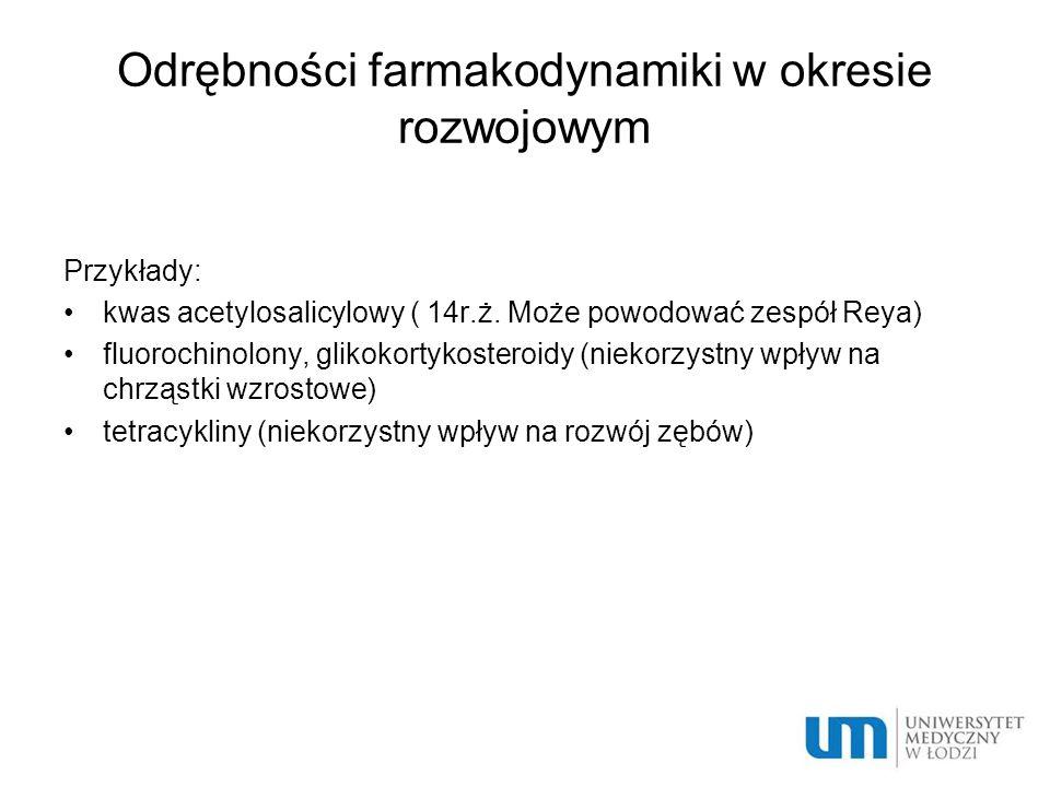 Odrębności farmakodynamiki w okresie rozwojowym Przykłady: kwas acetylosalicylowy ( 14r.ż. Może powodować zespół Reya) fluorochinolony, glikokortykost