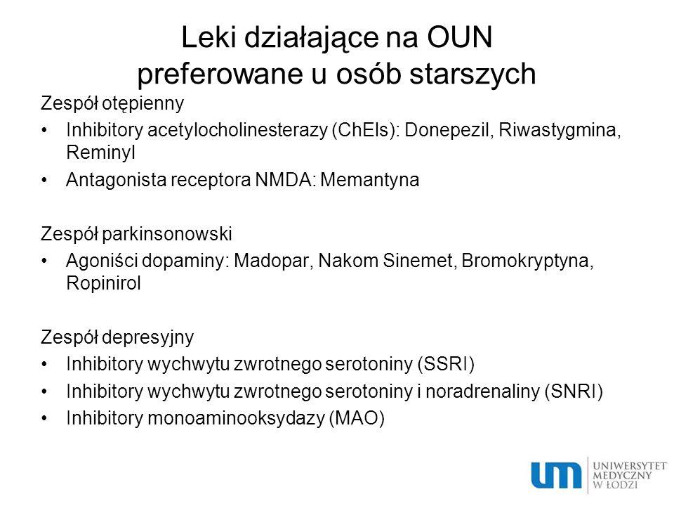 Leki działające na OUN preferowane u osób starszych Zespół otępienny Inhibitory acetylocholinesterazy (ChEls): Donepezil, Riwastygmina, Reminyl Antago