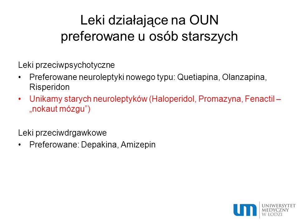 Leki działające na OUN preferowane u osób starszych Leki przeciwpsychotyczne Preferowane neuroleptyki nowego typu: Quetiapina, Olanzapina, Risperidon