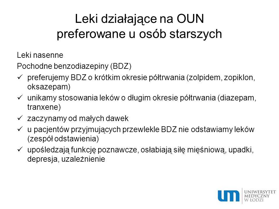 Leki działające na OUN preferowane u osób starszych Leki nasenne Pochodne benzodiazepiny (BDZ) preferujemy BDZ o krótkim okresie półtrwania (zolpidem,