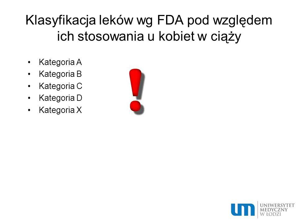 Klasyfikacja leków wg FDA pod względem ich stosowania u kobiet w ciąży Kategoria A Kategoria B Kategoria C Kategoria D Kategoria X