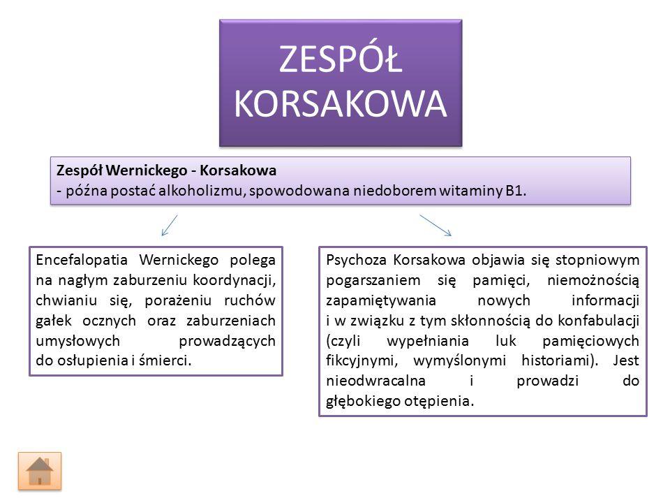 ZESPÓŁ KORSAKOWA Encefalopatia Wernickego polega na nagłym zaburzeniu koordynacji, chwianiu się, porażeniu ruchów gałek ocznych oraz zaburzeniach umysłowych prowadzących do osłupienia i śmierci.