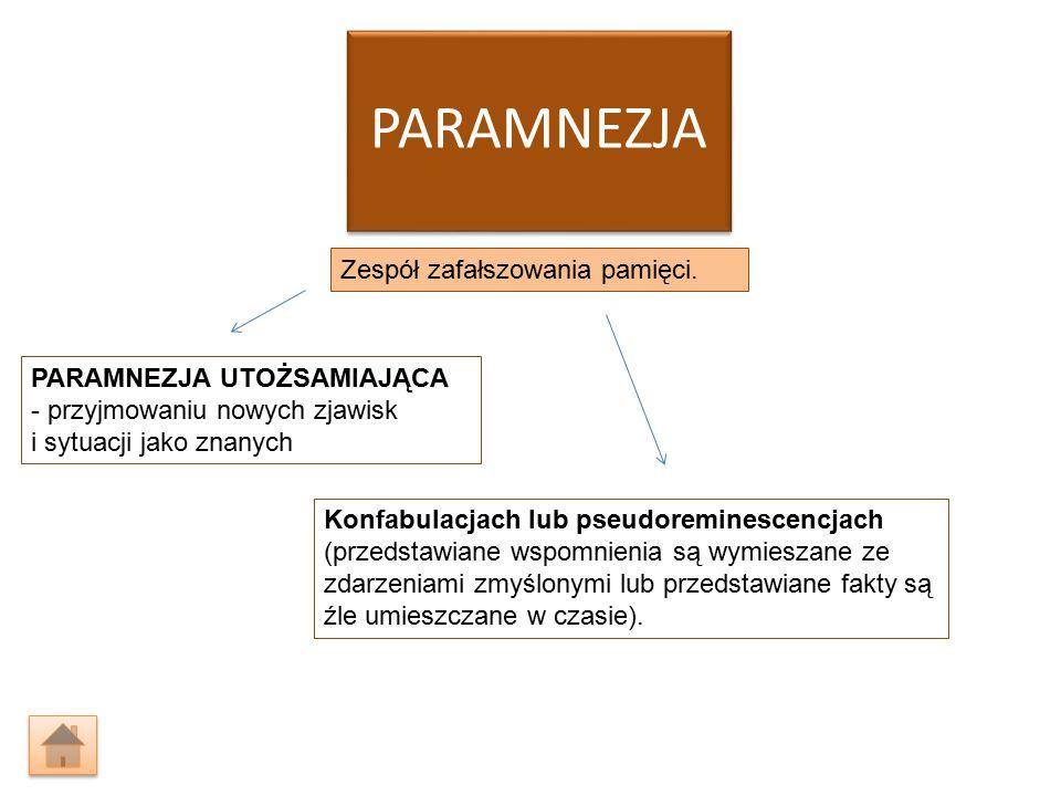 PARAMNEZJA Zespół zafałszowania pamięci. PARAMNEZJA UTOŻSAMIAJĄCA - przyjmowaniu nowych zjawisk i sytuacji jako znanych Konfabulacjach lub pseudoremin